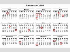 2014 Listado de feriados y días no laborables