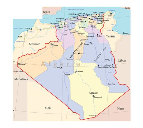 Carte Geographique Villes Algerie by Detailed Political And Administrative Map Of Algeria With