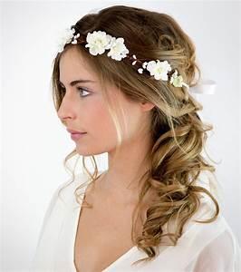 coiffure mriage cheveux longs mi longs accueil design et With tapis chambre bébé avec couronne de fleurs cheveux mariage