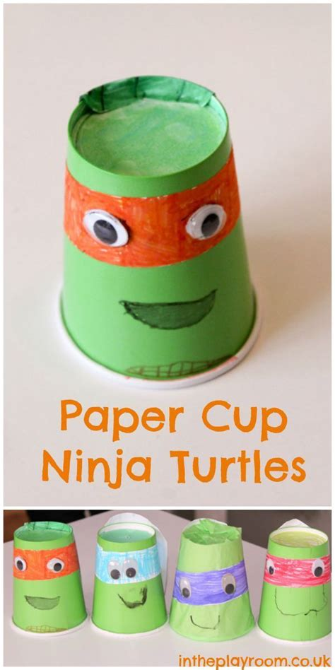 mutant turtles paper cup craft in the playroom 728 | paper cup tmnt