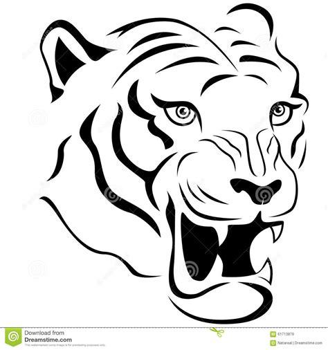 Kleurplaat Tijgerkop by Aggressive Tiger Up Stock Vector Illustration
