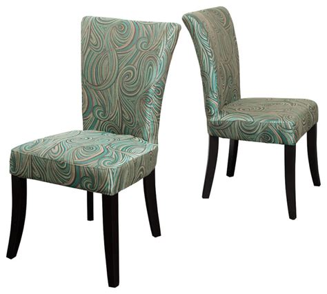 leopold green brown pattern fabric dining chairs set of 2