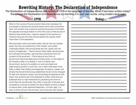 paraphrase the declaration of independence worksheet