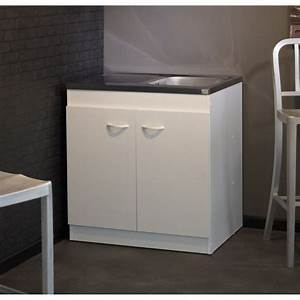 Meuble Sous Evier 90 Cm : meuble sous vier cosmos blanc l80 cm achat vente ~ Dailycaller-alerts.com Idées de Décoration