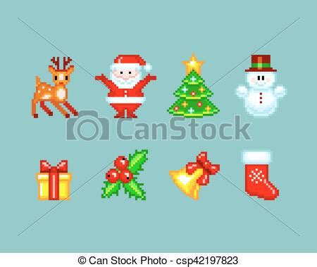 best pixel merry christmas vector illustration of elements in pixel style