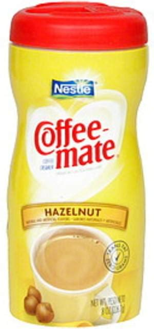 This liquid coffee mate creamer makes it easy to add just the right amount of hazelnut flavor; Coffee-mate Hazelnut Coffee Creamer - 8 oz, Nutrition ...