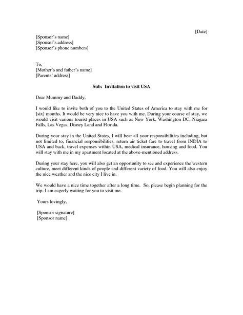 invitation letter  tourist visa letters  sample