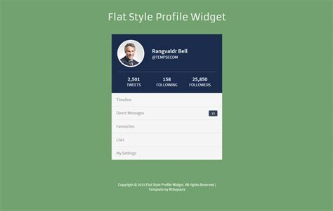 html profile template flat style profile responsive widget template by w3layouts