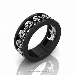 mens modern 14k black and white gold diamond skull channel With diamond skull wedding rings