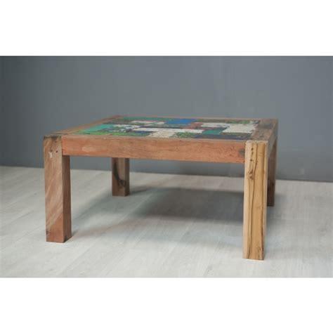 table basse carr 233 e en bois de pirogue 90 cm