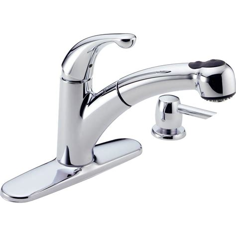 kitchen faucet with soap dispenser delta palo single handle pull out sprayer kitchen faucet