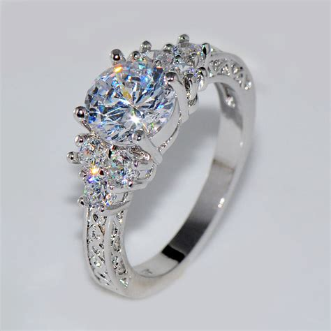 ct lab diamond white sapphire wedding ring kt white
