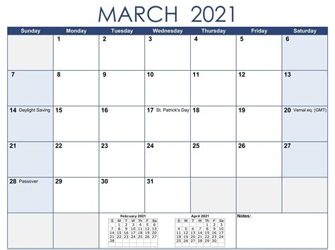 Print March 2021 Calendar With Holidays Dates Pages - One ...