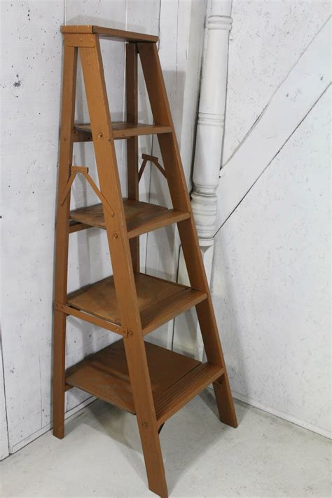 wood ladder shelf 5 step wood vintage shelf unit made from antique ladder 56 quot t