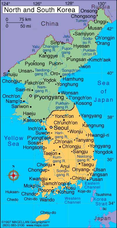 south korea map infoplease