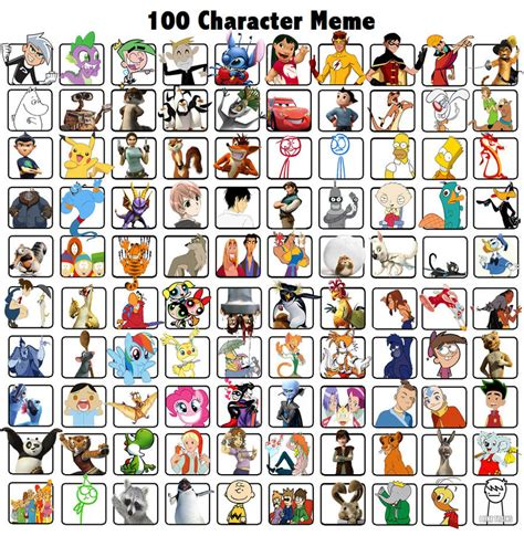 Memes Characters - 100 character meme by minniii on deviantart