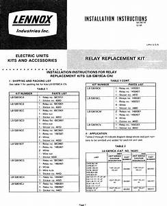 Lennox Air Handler Auxiliary Heater Kit Manual L0805593