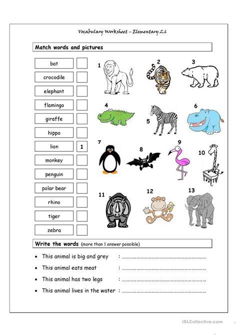 vocabulary matching worksheet elementary  wild