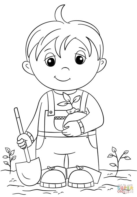cute  boy holding seedling coloring page