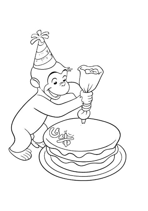 Curious George Decorating A Cakes Coloring Pages
