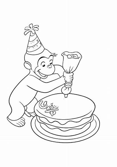 Coloring Pages Curious George Birthday Decorating Cakes