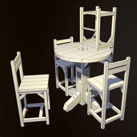 3d model rustic pub table and chair vr ar low poly obj
