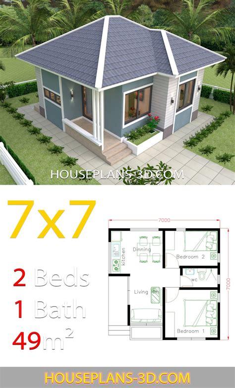 House Design Plans 7x7 with 2 Bedrooms в 2020 г План