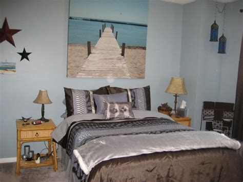 Bedroom Floating Shelves And Beachy Wall Painting Feat