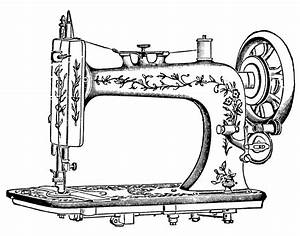 Antique Clip Art - Pretty White Sewing Machine - The ...