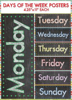 colorful days   week chalkboard posters  catherine