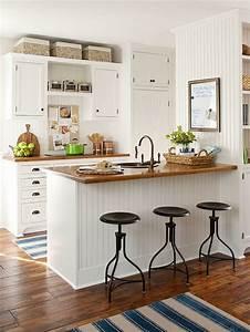 Cocinas, Blancas, Modernas, Con, Detalles, En, Madera