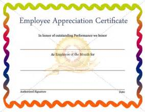 Employee Appreciation Certificates Templates Free