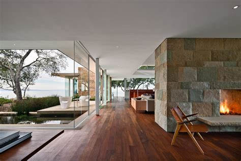 Open Layout, Two Sided Large Block Fireplace, Glass Walls