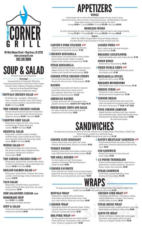 Download the menu get directions. Corner Grill menu in Blue Grass, Iowa, USA