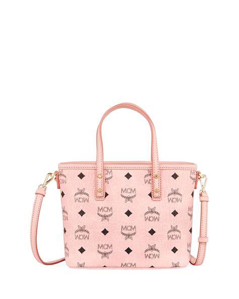 mcm anya mini logo shopper bag neiman marcus
