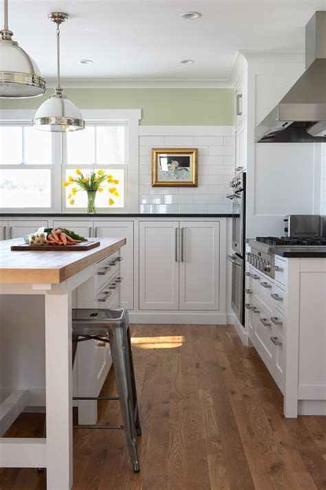 eat in kitchen island oak flooring kitchen contemporary with clerestory