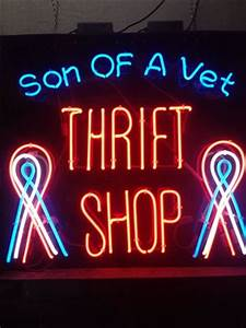 Neon sign Picture of Son of A Vet Thrift Shop Los