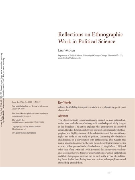 reflections  ethnographic work  political science ethnography anthropology