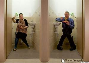 side by side photo shows hypocrisy of suggesting women With how to go to the bathroom in public