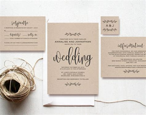 kraft wedding invitation printable rustic invitation set