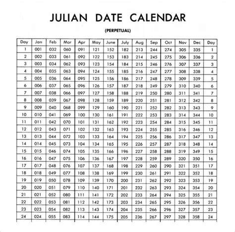 julian date calendar    calendar printable