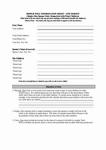 Download A Will Template Simple Will Information Sheet Printable Pdf Download