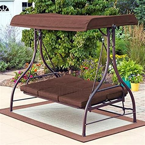 Patio Swing by Brown Patio Porch Outdoor Swing Canopy Awning 3 Seat Bed