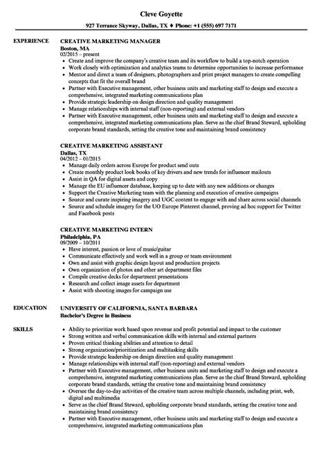 Creative Marketing Resume by Creative Marketing Resume Sles Velvet