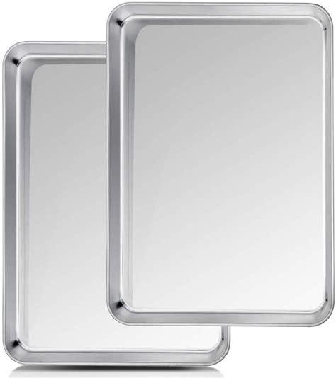 baking sheet stainless steel pans cookie teamfar half piece gauge thick duty heavy pan healthy
