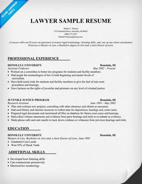 best letter sles lawyer resume