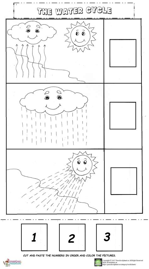 water cycle worksheet preschoolplanet