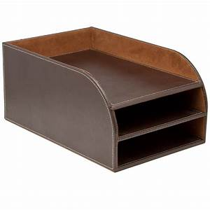 osco leather effect three tier letter tray With leather letter tray