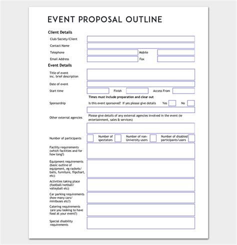 event proposal outline template word  outline
