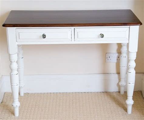shabby chic desk shabby chic desk white paint with wood top 2 drawers